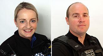 PCSO Caryl Griffiths and PC Nick Allen
