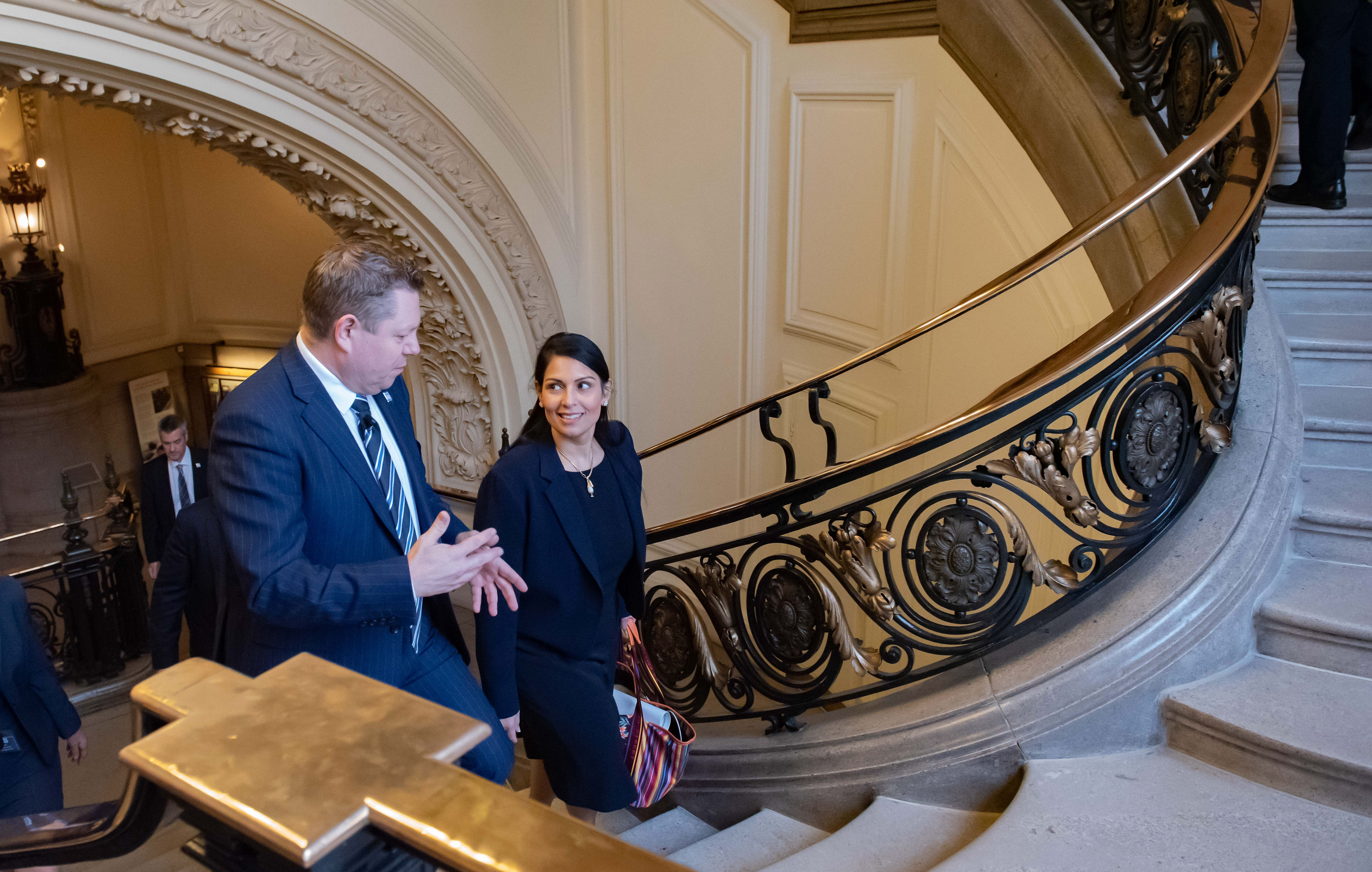 Priti Patel, pictured here with John Apter, was appointed Home Secretary in August