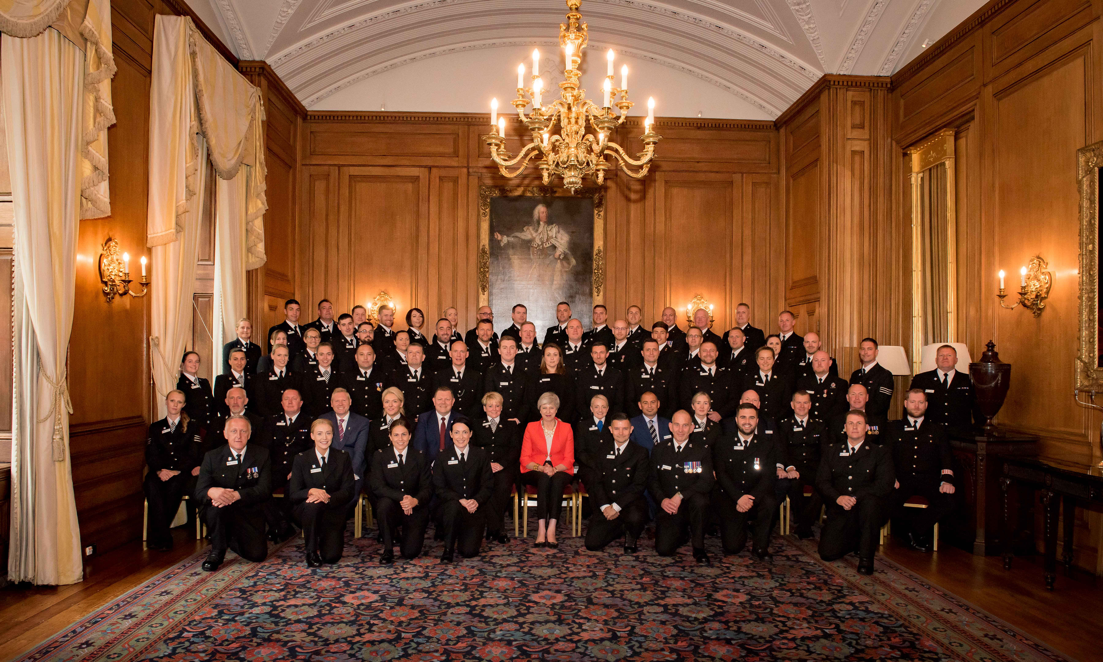 Police Bravery nominees at Downing Street with Prime Minister Theresa May