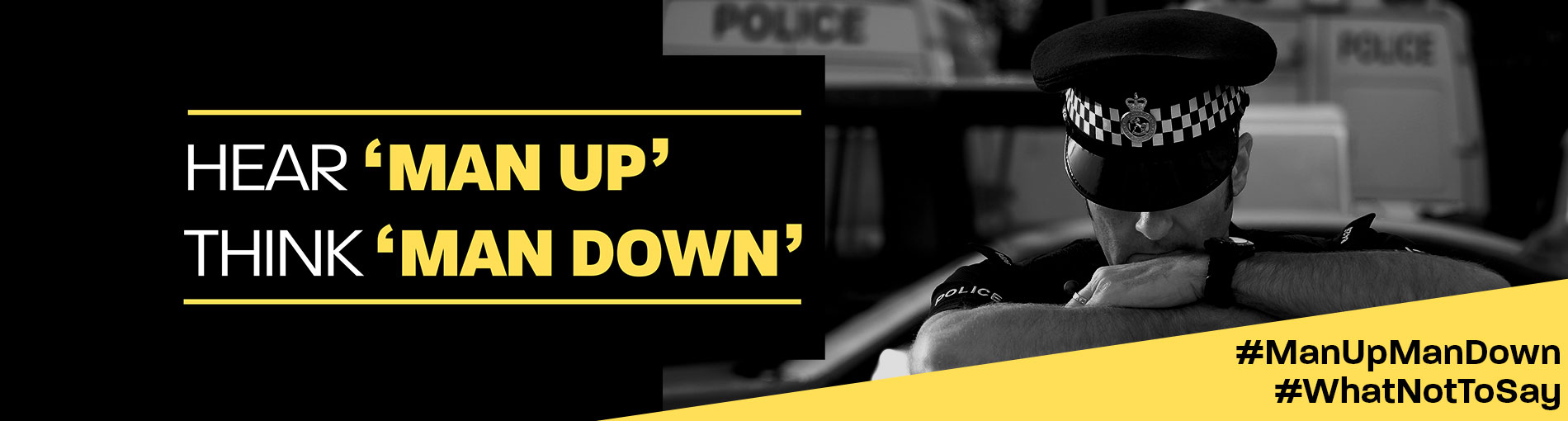 Man up man down campaign banner