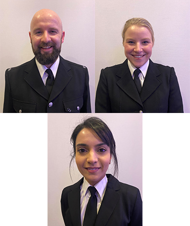 PC David Icke, PC Emily Chapman and PC Nazia Hussain