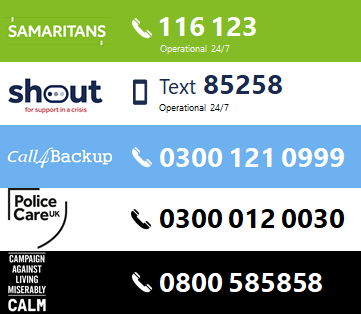 Call Samaritans 24/7 on 116 123